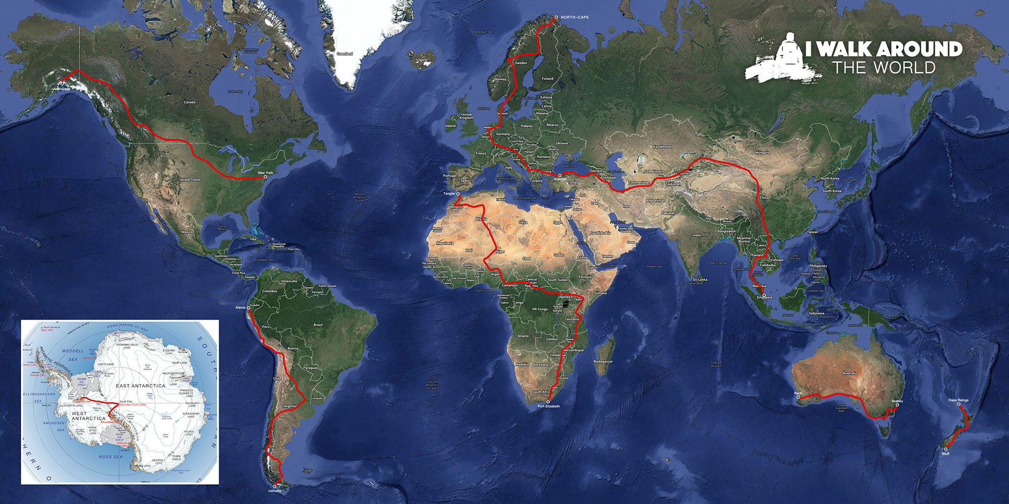 Route over de wereld